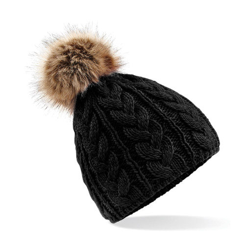 Fur Pop Pom Cable Beanie