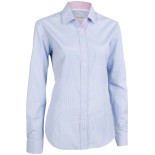 Cotton Blend Small Check Business Shirt Lady