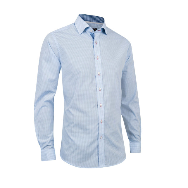 Cotton blend small check shirt
