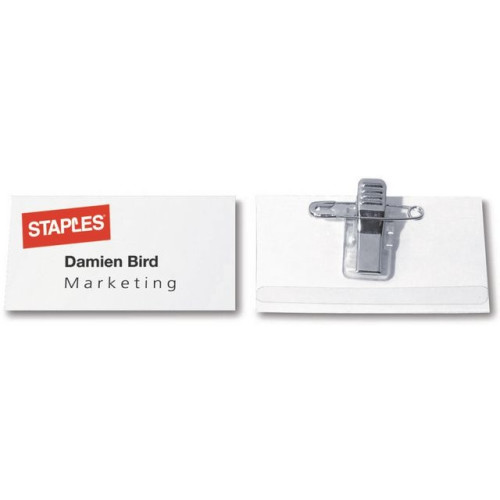 Namnskylt STAPLES kombiclip 40x75mm50/F