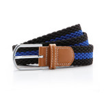 Two colour stripe braid stretch belt