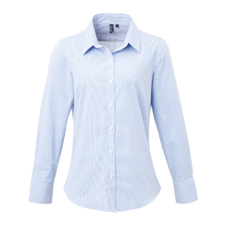 Ladies Microcheck Gingham LS Cotton Shirt