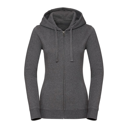 Ladies Authentic Melange Zipped Hood Sweat