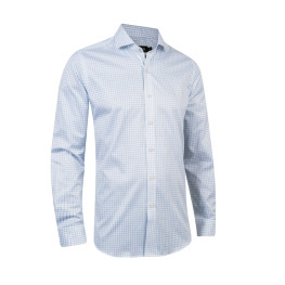 Two Ply White/Blue Check Business Shirt